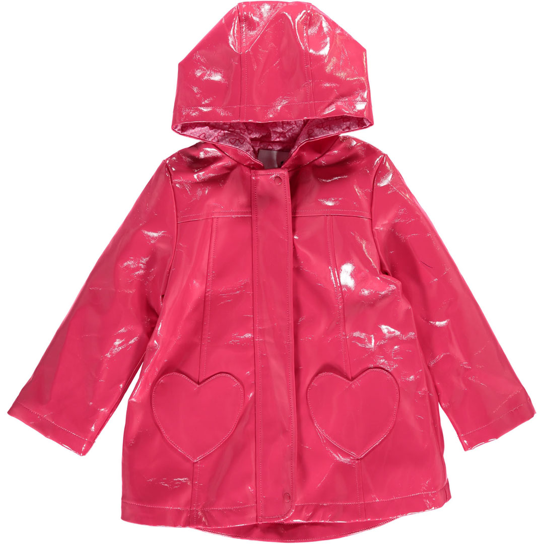 Cahoimper Girls Pink Hooded Raincoat