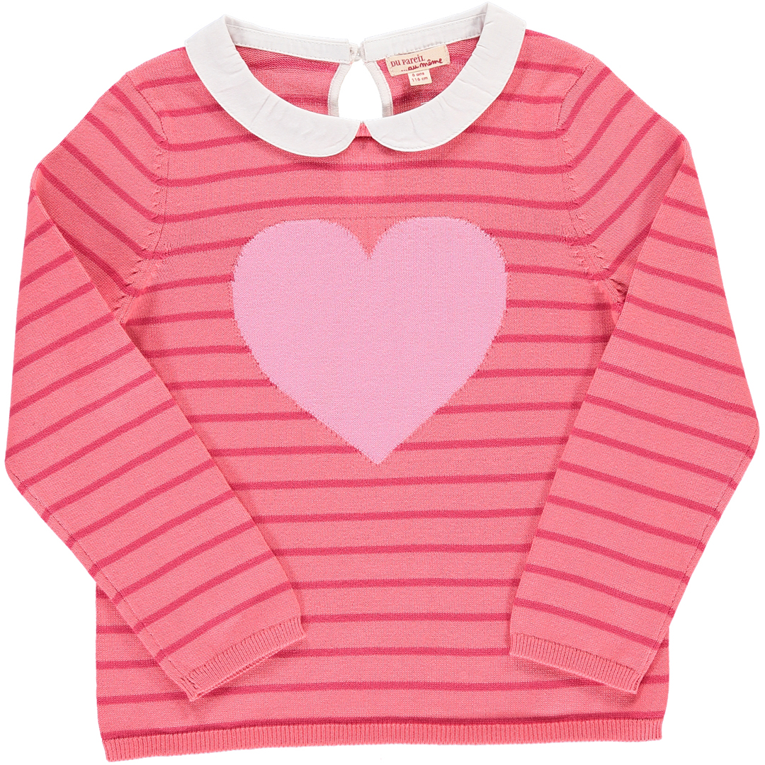Cahopul1 Girls Striped Cotton Knit Jumper