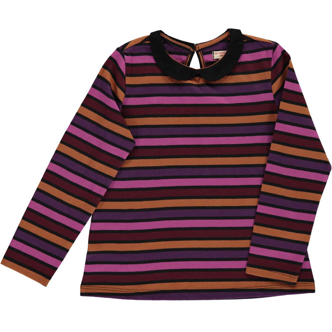 Dachobras Girls Striped Collared T-shirt