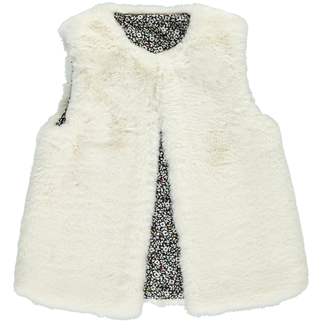 Dachocarf Girls Cream Reversible Fake Fur Gilet