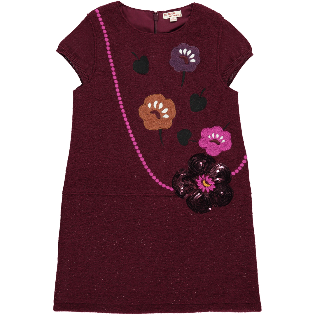 Dachorob2 Girls Wine Boiled Wool Dress