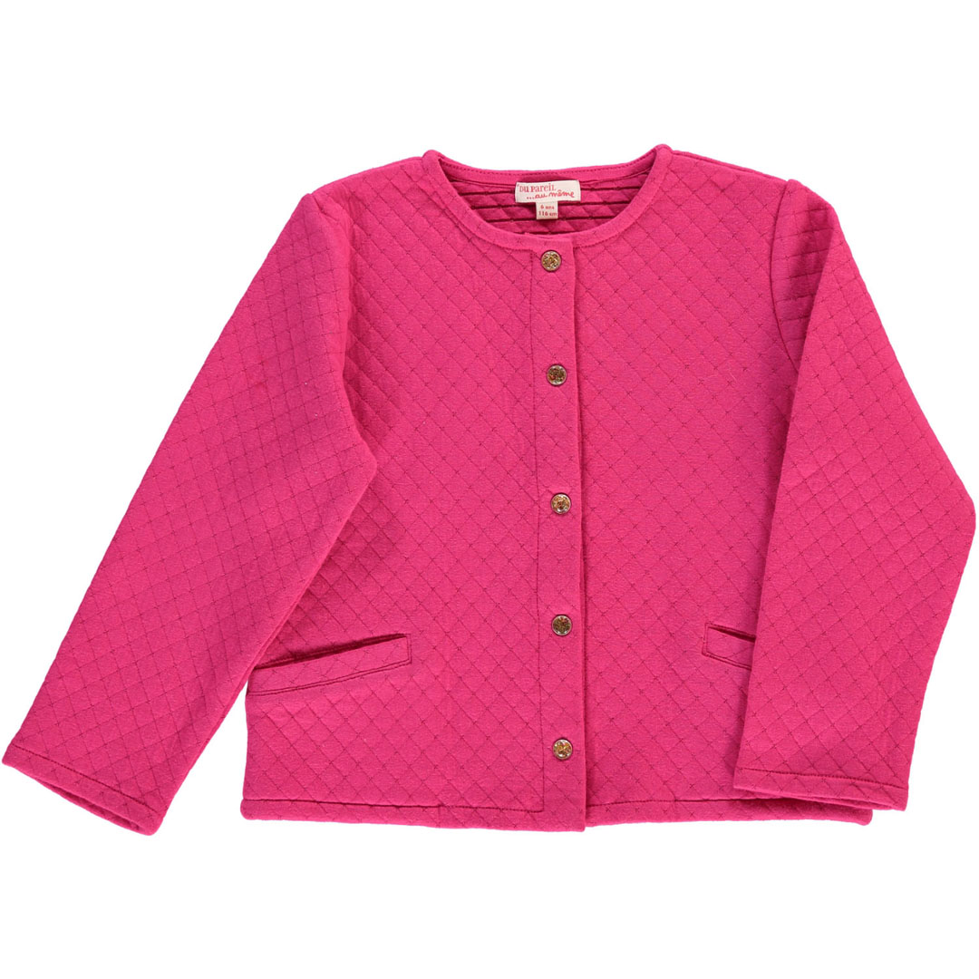 Daroucar2 Girls Pink Quilted Cardigan