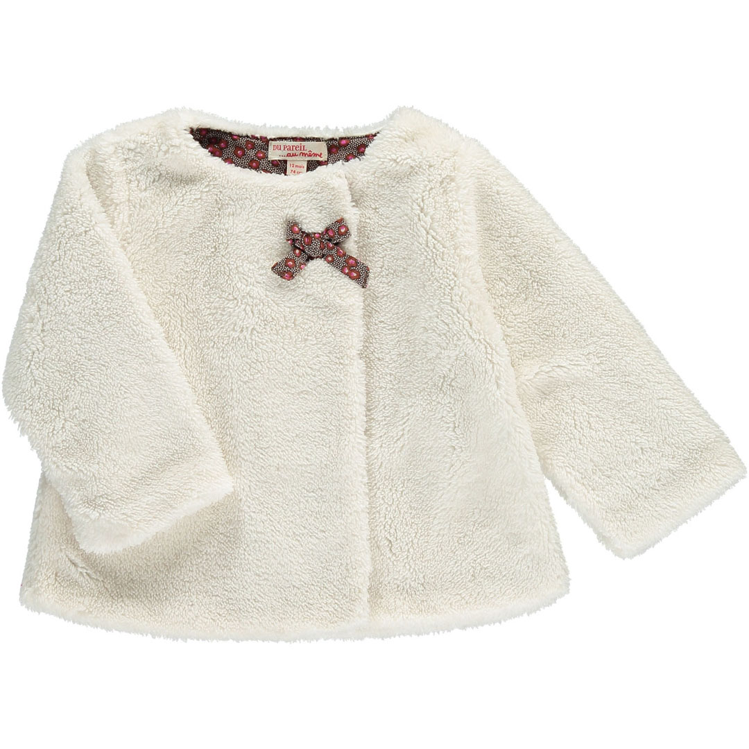 Dichocar1 Baby Girls Cream Faux Fur Cardigan