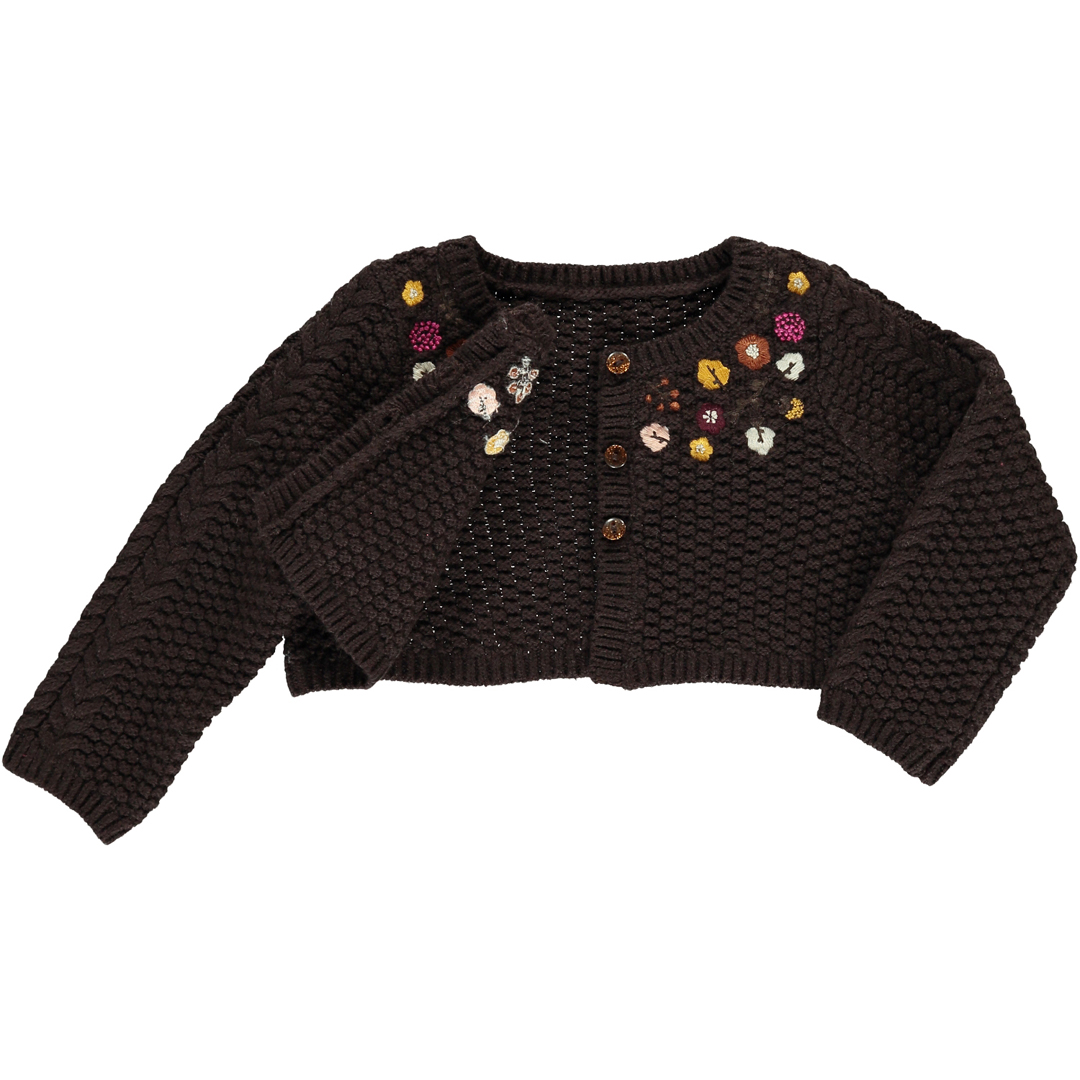 Dichocar2 Baby Girls Chocolate Brown Cardigan