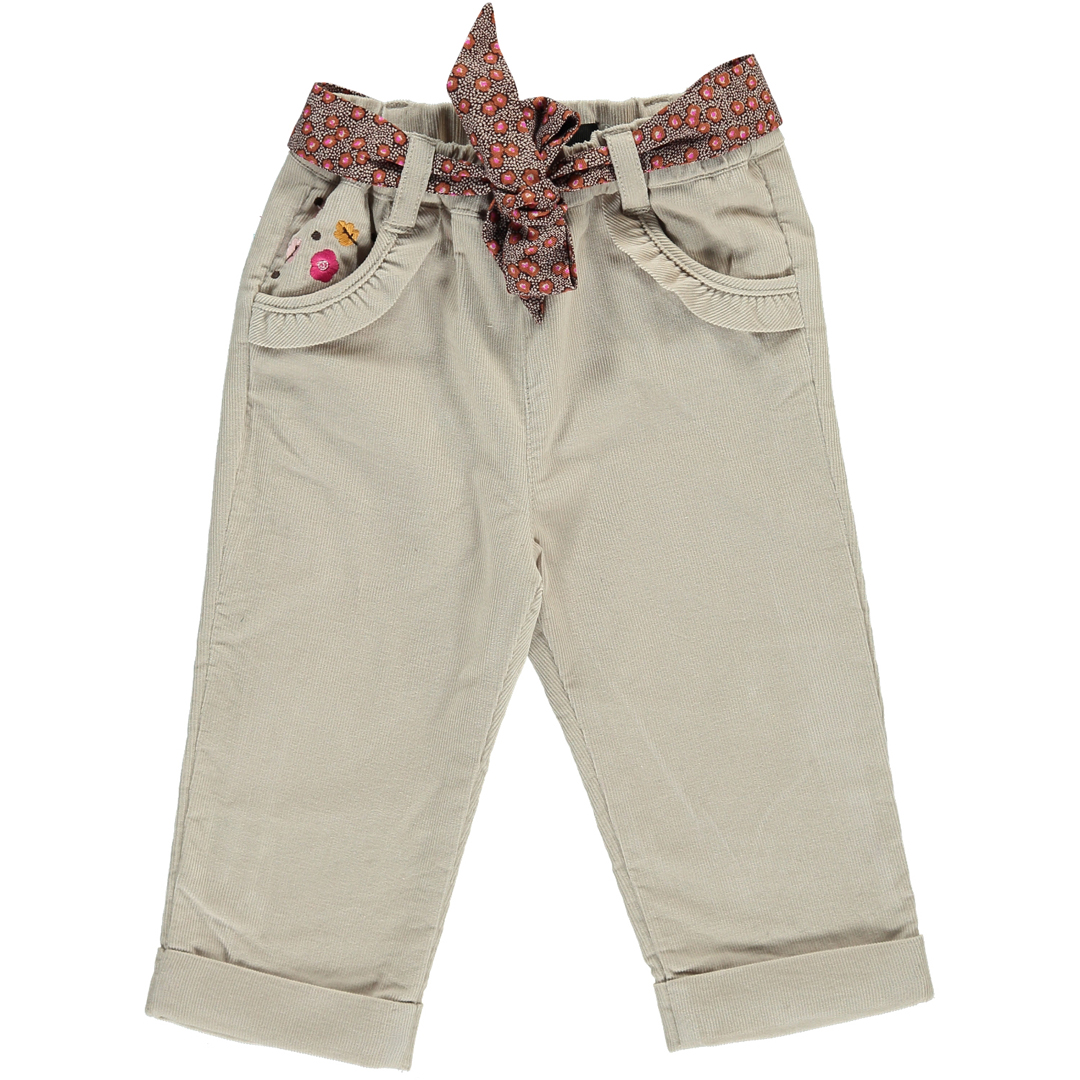 Dichopan Baby Girls Beige Cord Trousers