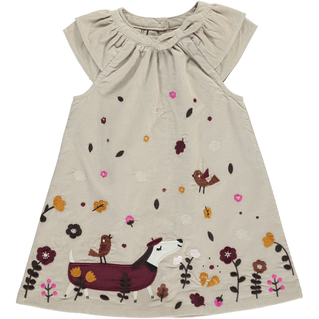 Dichorob3 Baby Girls Beige Embroidered Cord Dress
