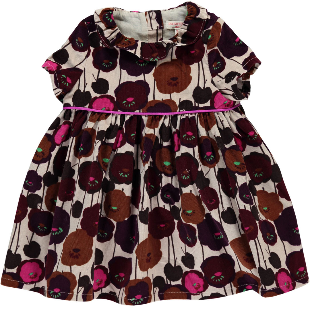 Dichorob4 Baby Girls Printed Cord Dress