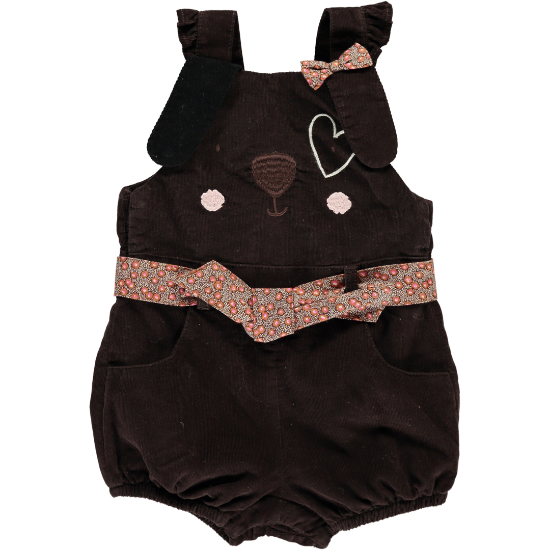 Dichosal Baby Girls Chocolate Brown Dungarees