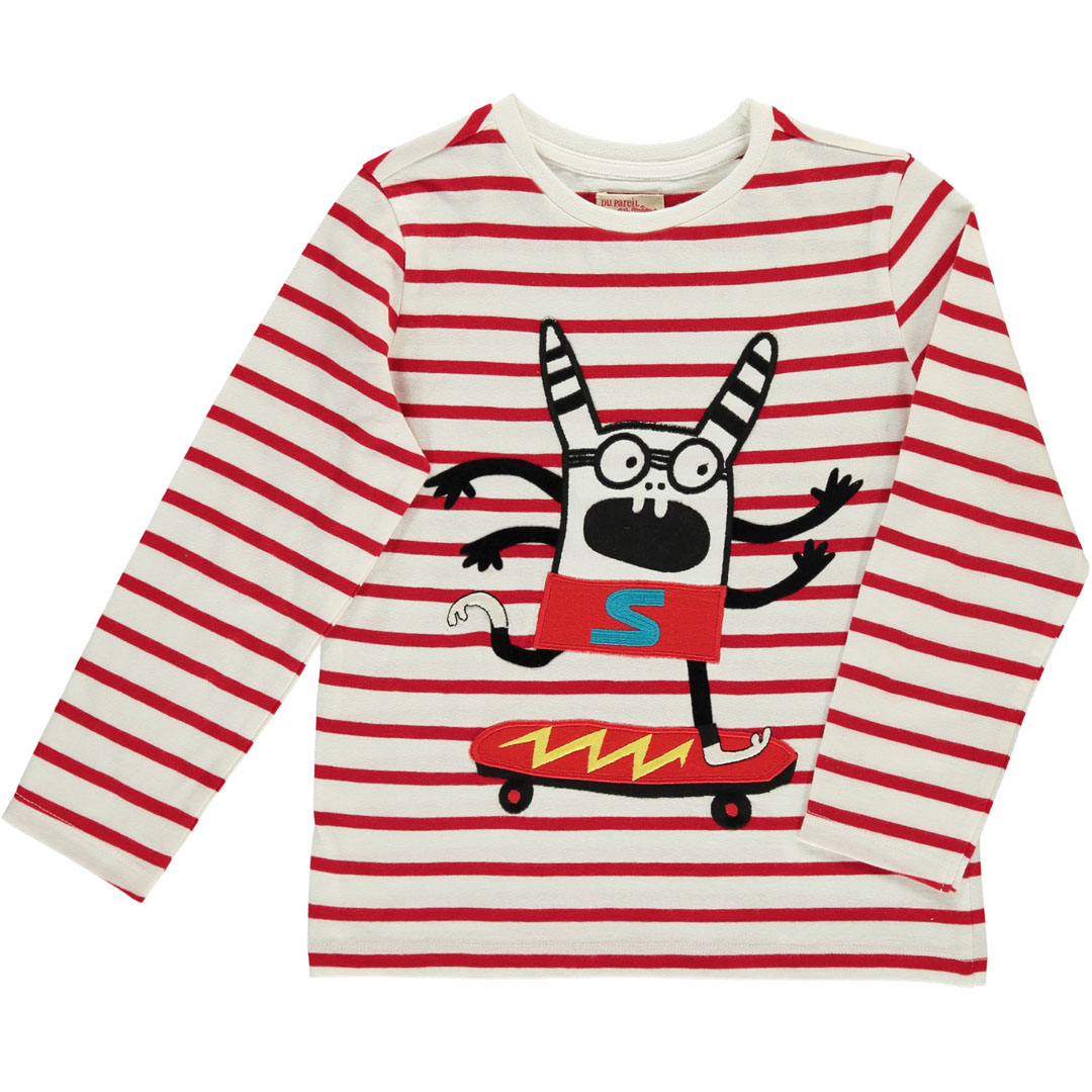 Doroutee1 Boys Striped Printed T-shirt