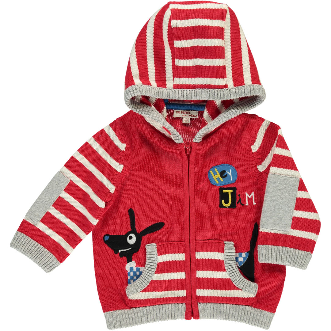Durougil Baby Boys Red Hooded Cotton Cardigan