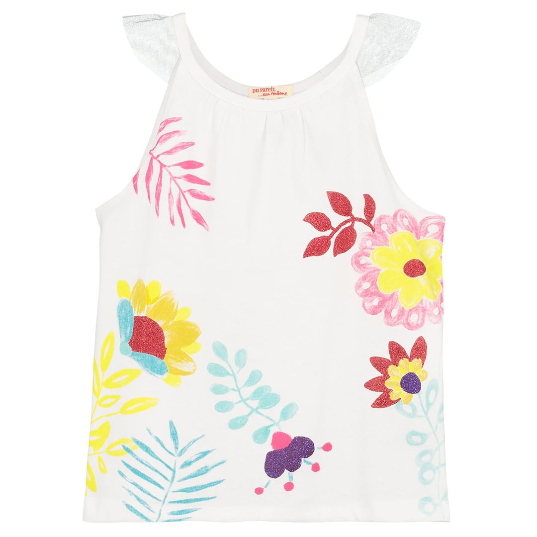 Facadeb Girls White Printed Sleeveless T-shirt