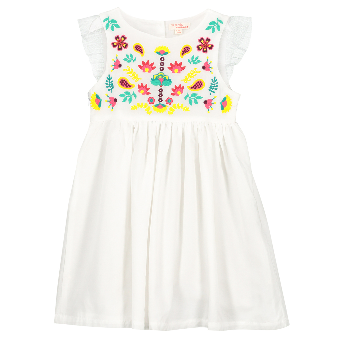 Facarob1 Girls White Embroidered Cotton Dress