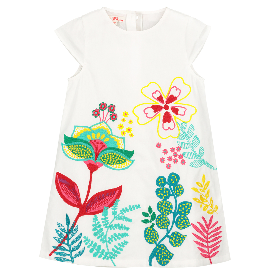 Facarob4 Girls White printed Cotton Dress