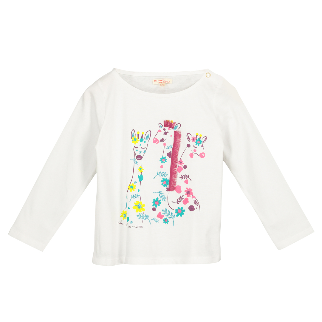 Facatee1 Girls White Printed T-shirt