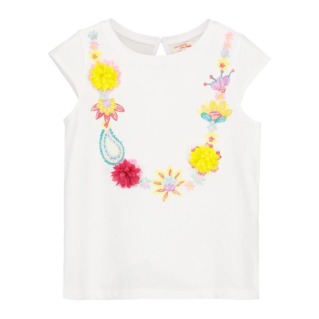 Facati2 Girls White T-shirt