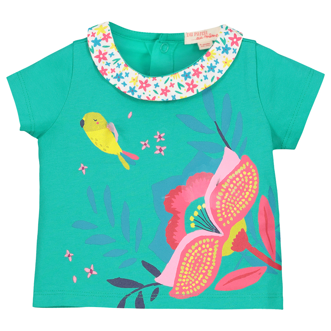 Ficabra Baby Girls Turquoise Printed Collared Top