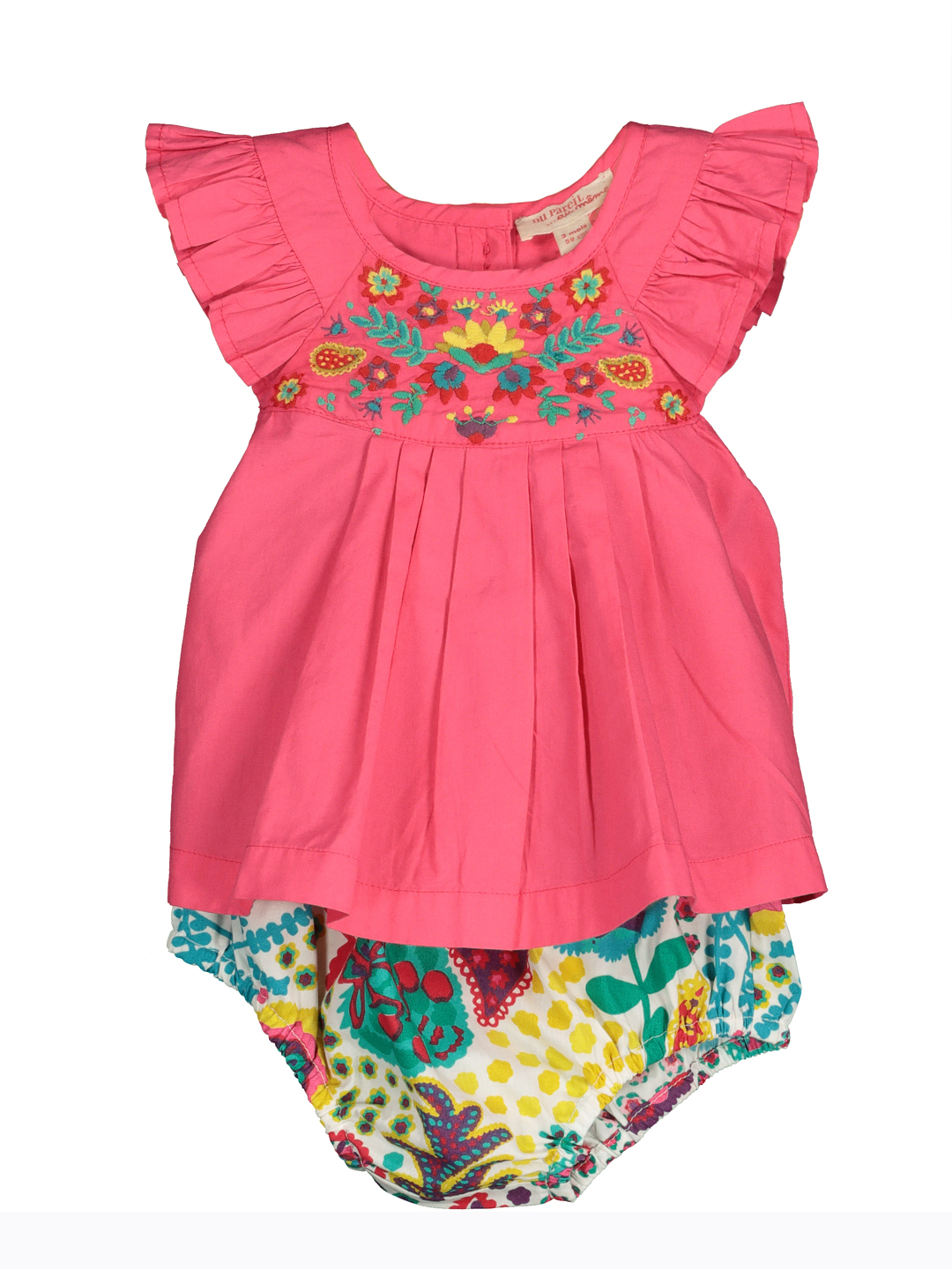Ficaens Baby Girls Pink Dress With Printed Bloomers