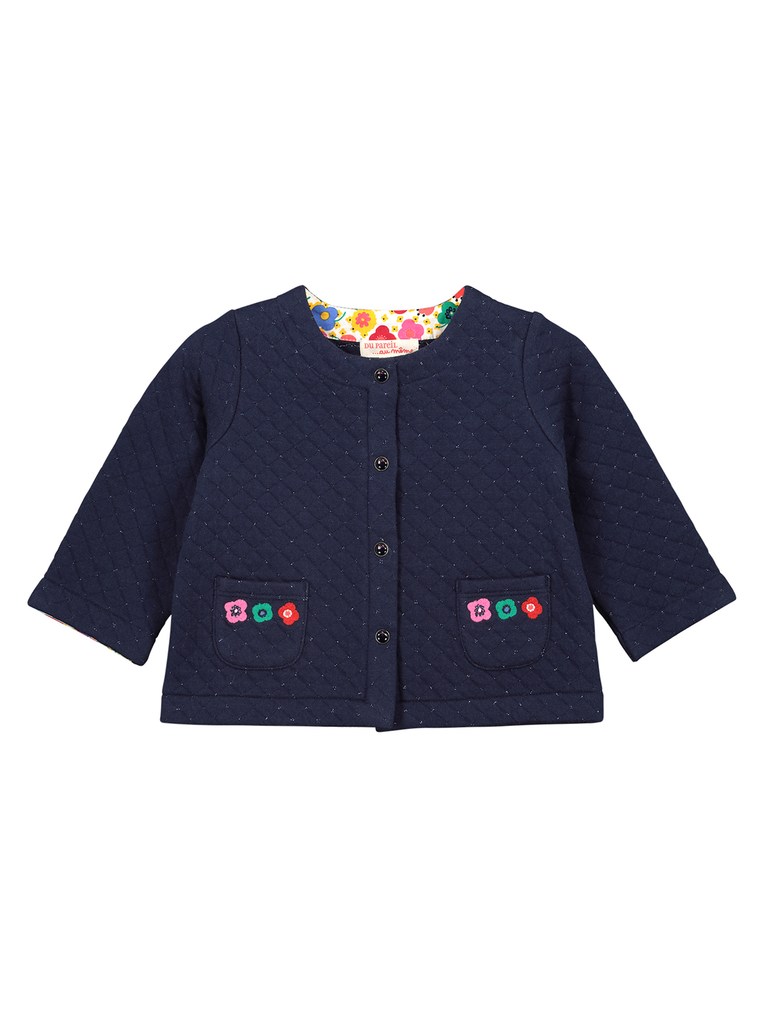 Ficocar1 Baby Girls Navy Lined Cardigan