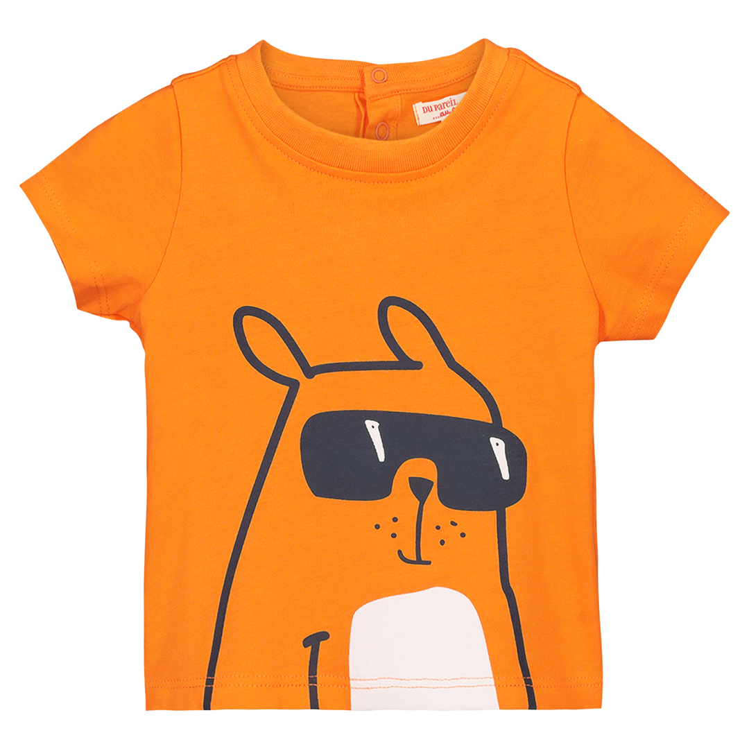 Fujoti3 baby Boys Orange Cotton Printed T-shirt