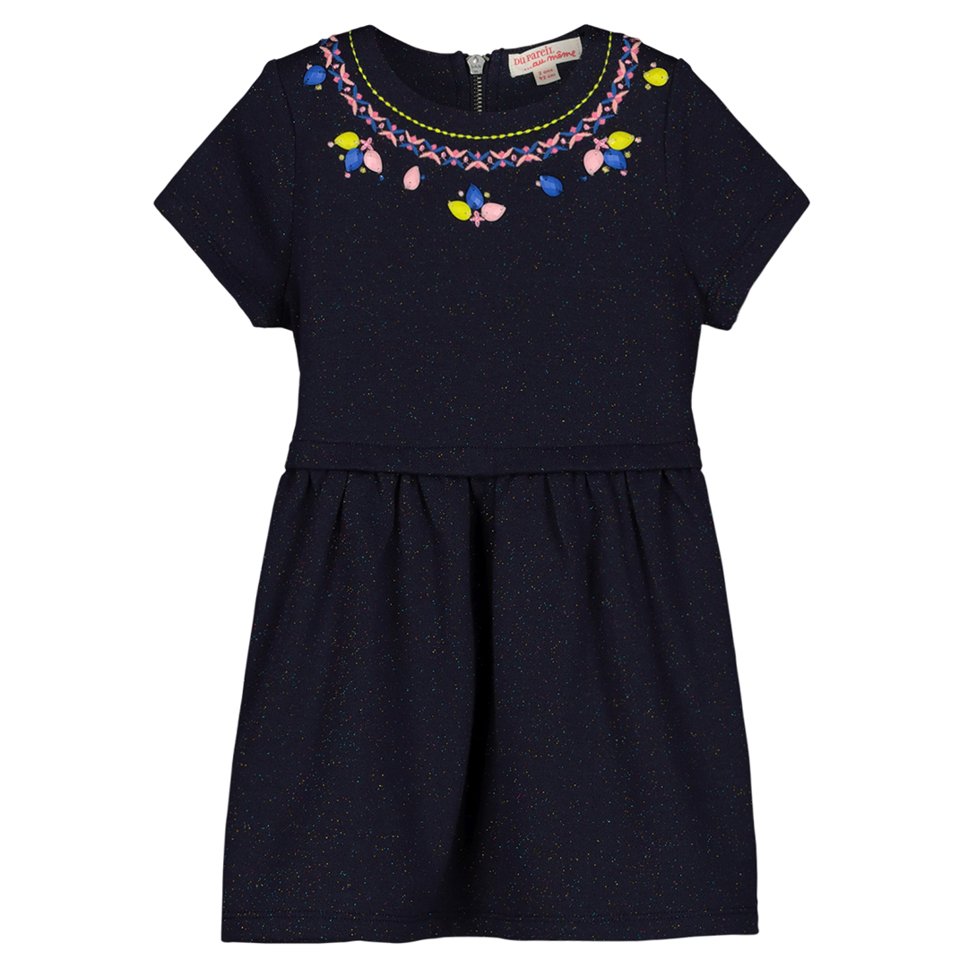 Gablerob2 Girls Navy Embroidered Dress