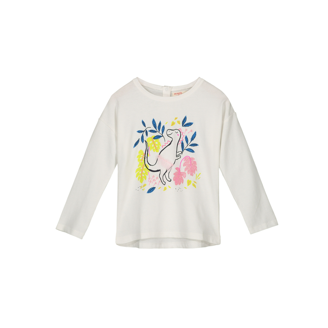 Gabletee Girls Printed Long Sleeved Cream T-shirt