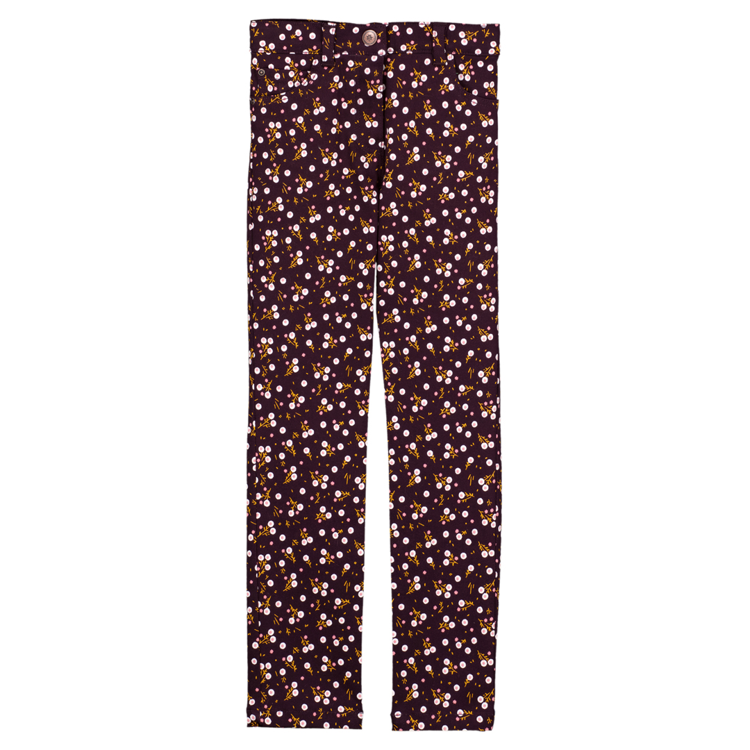 Gajaupant Girls Stretch Brown Printed Trousers