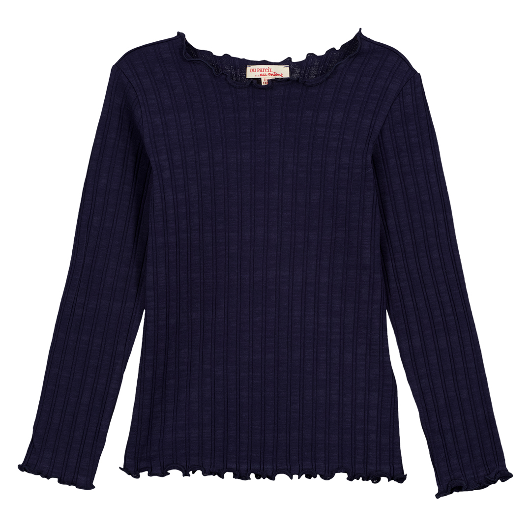 Gajoutee2 Girls Navy Ribbed Cotton T-shirt