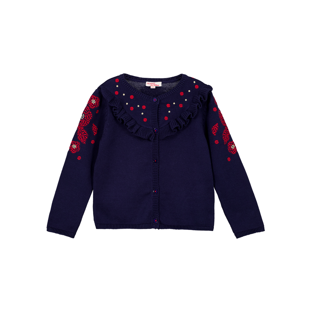 Gasancar Girls Navy Cotton Mix Cardigan
