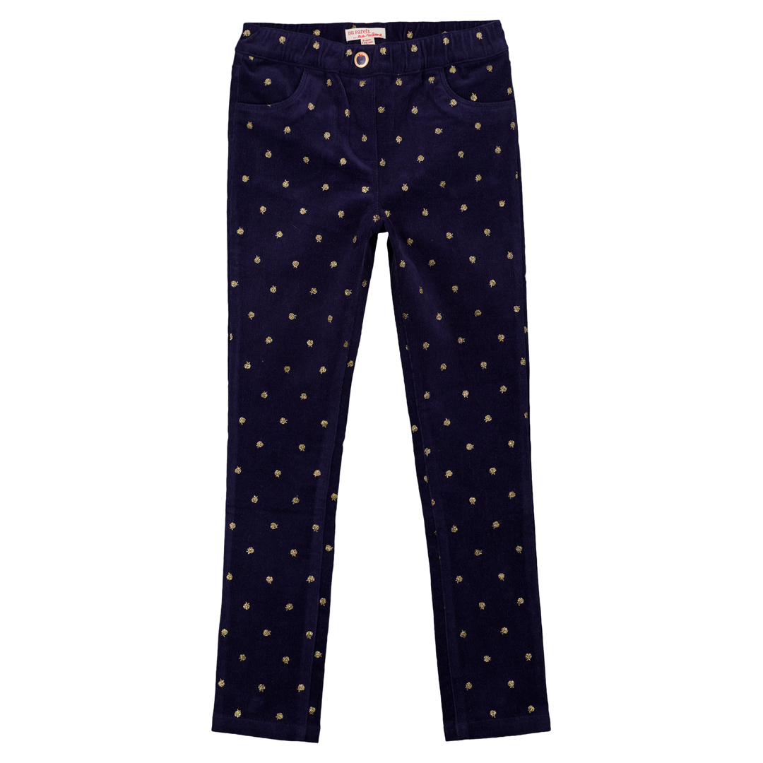 Gasanpant Girls Stretch Navy Corduroy Trousers