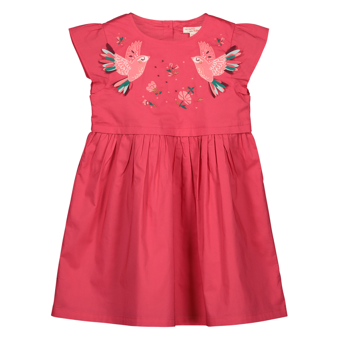 Gaverob1 Girls Pink Embroidered Cotton Dress