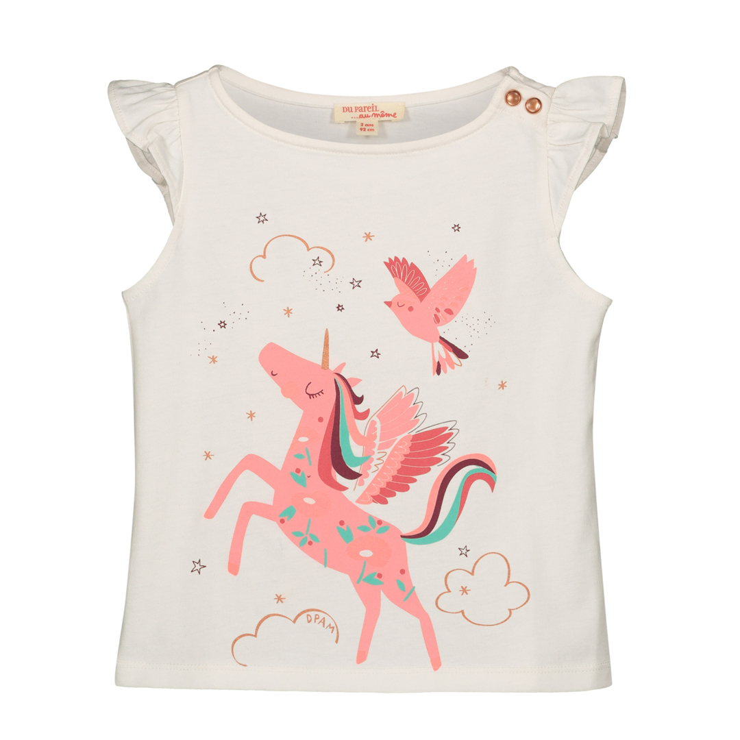 "Gaveti1 Girls Cream ""unicorn"" T-shirt"