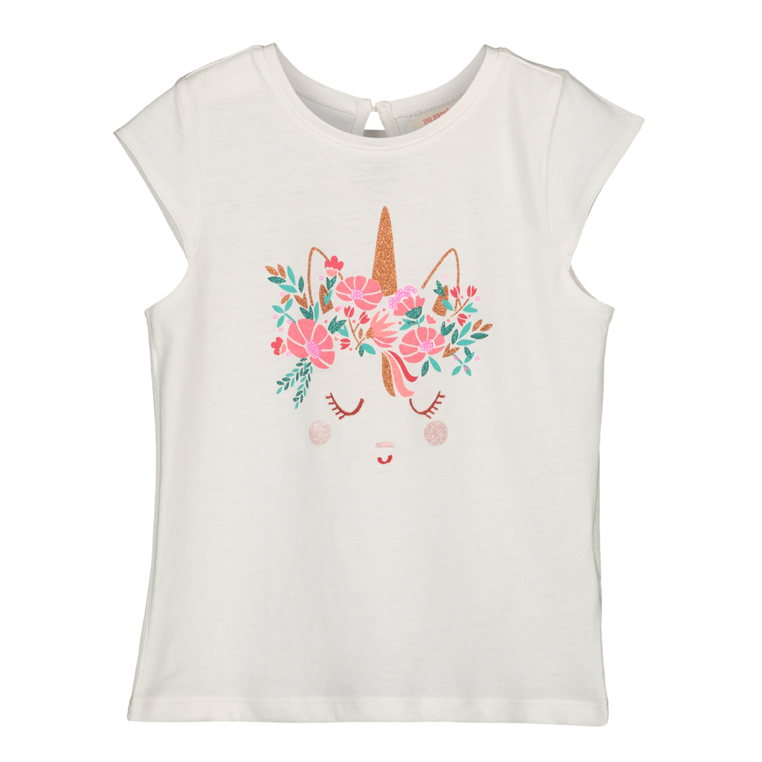 Gaveti2 Girls Cream Printed Cotton T-shirt