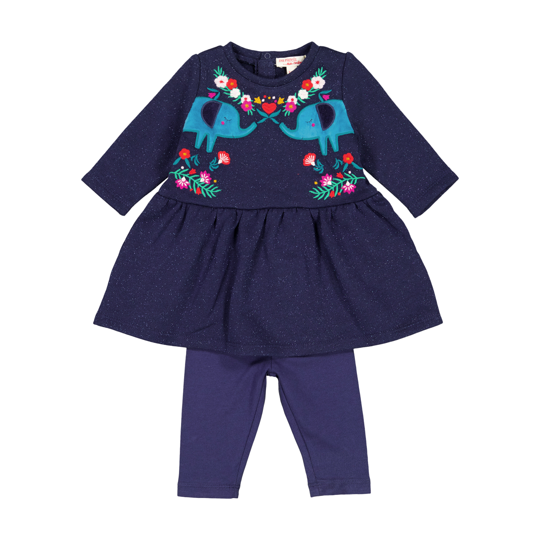 Gimuens Baby Girls Navy Dress and Leggings