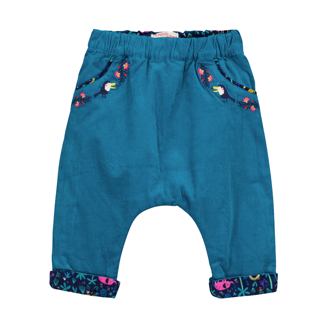 Gimupan Baby Girls Reversible Velour Trousers