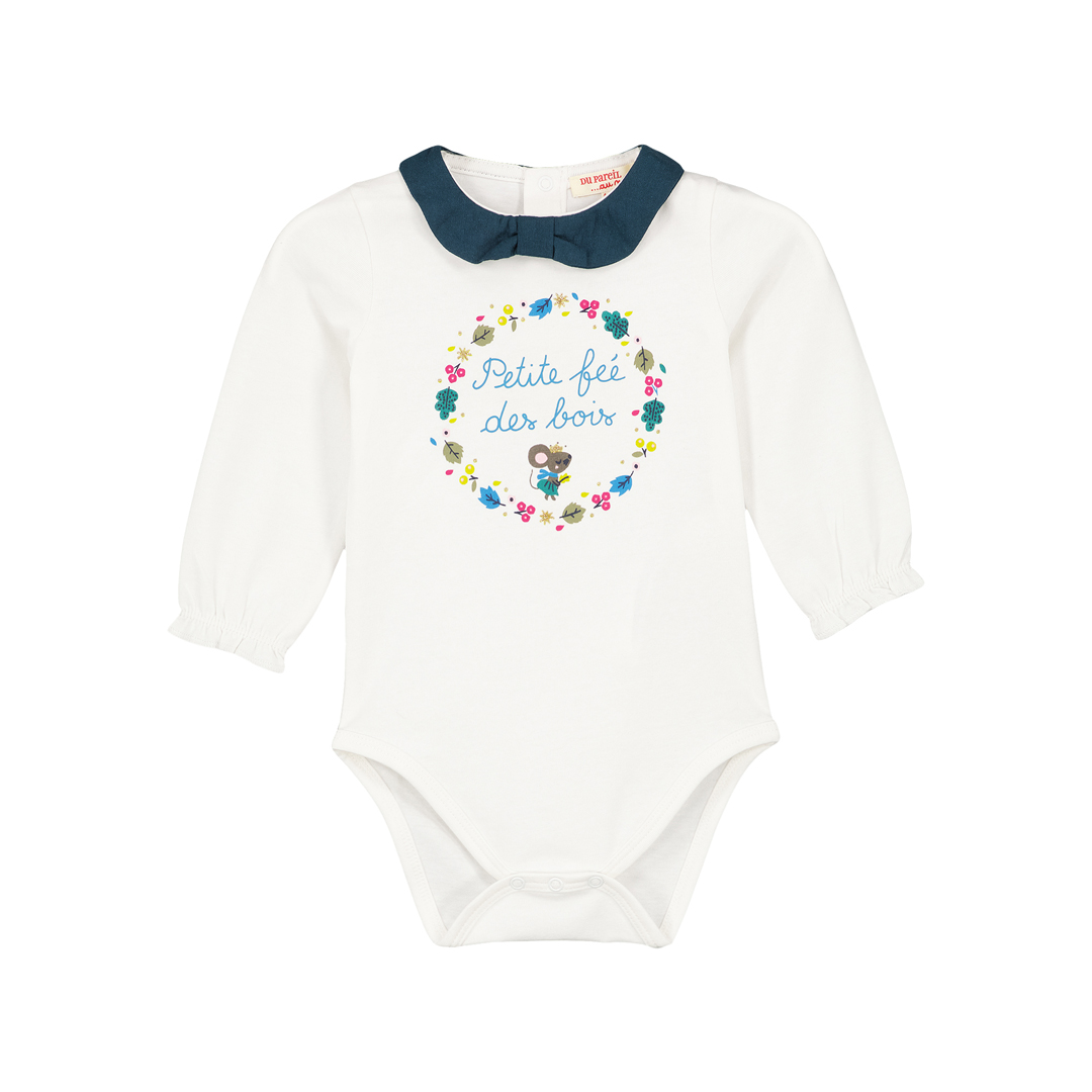 Gitubody Baby Girls Cream Printed Bodysuit