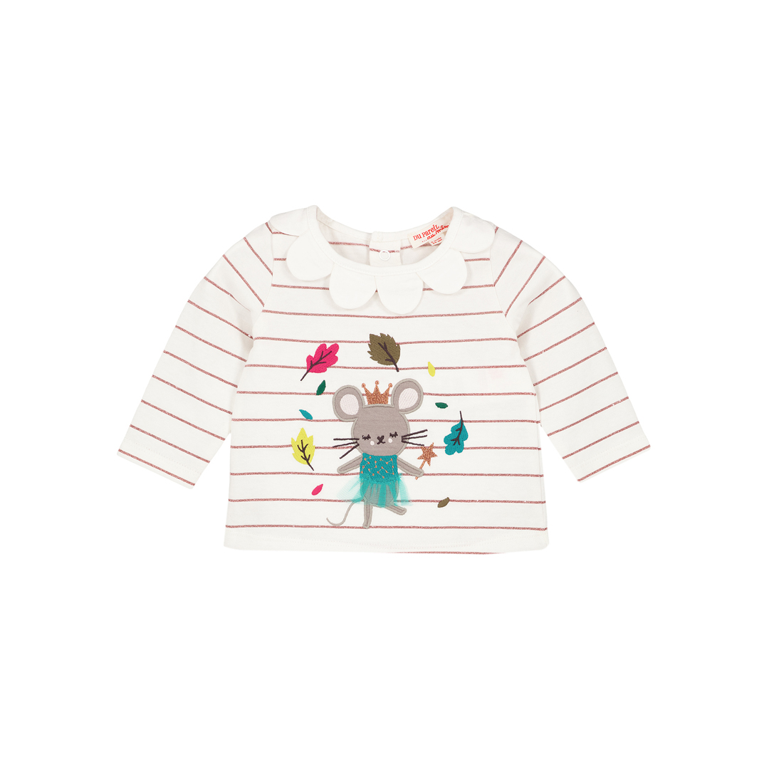 Gitubra Baby Girls Striped Cream Collared T-shirt
