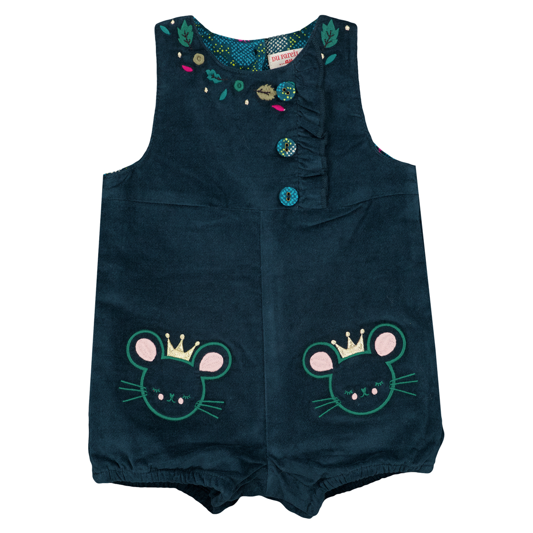 Gitusal Baby Girls Petrol Blue Cotton Dungarees