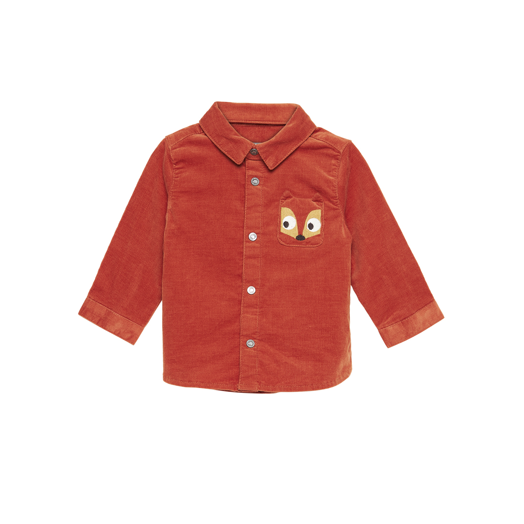 Gubruchem Baby Boys Orange Corduroy Shirt