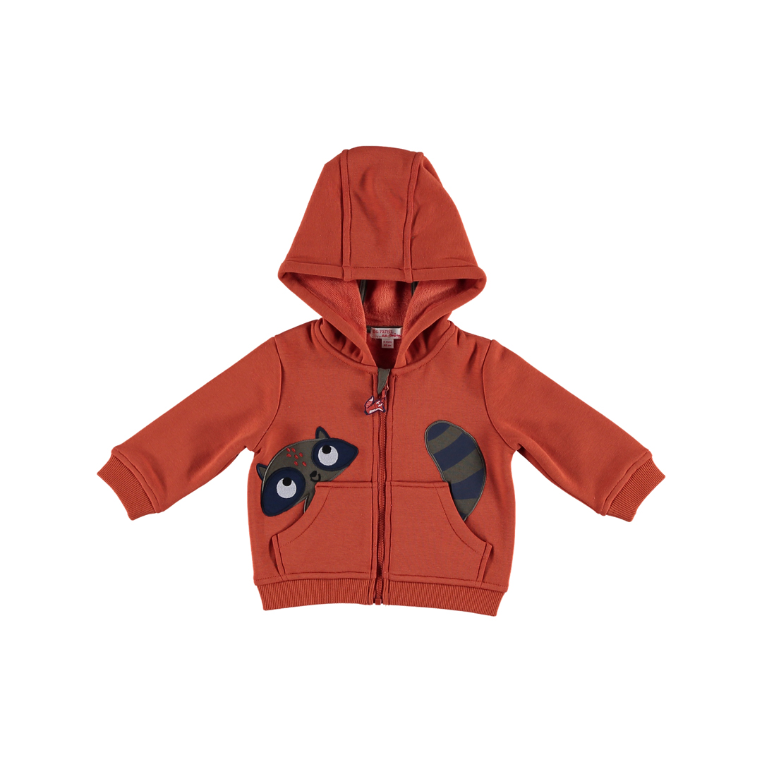Gubrugil2 Baby Boys Rust Hooded Zipped Cardigan