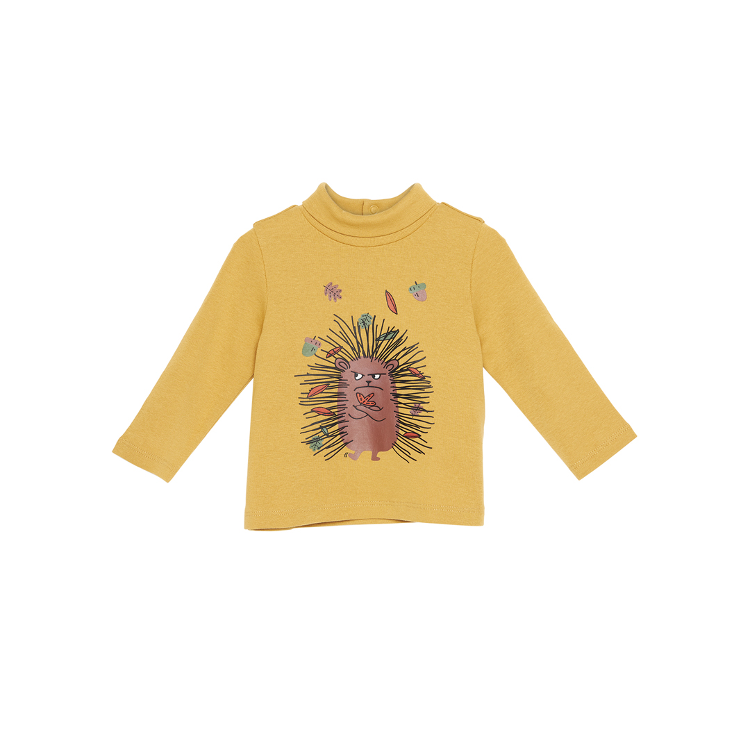 Gubrusoup Baby Boys Printed Saffron Cotton polo Neck