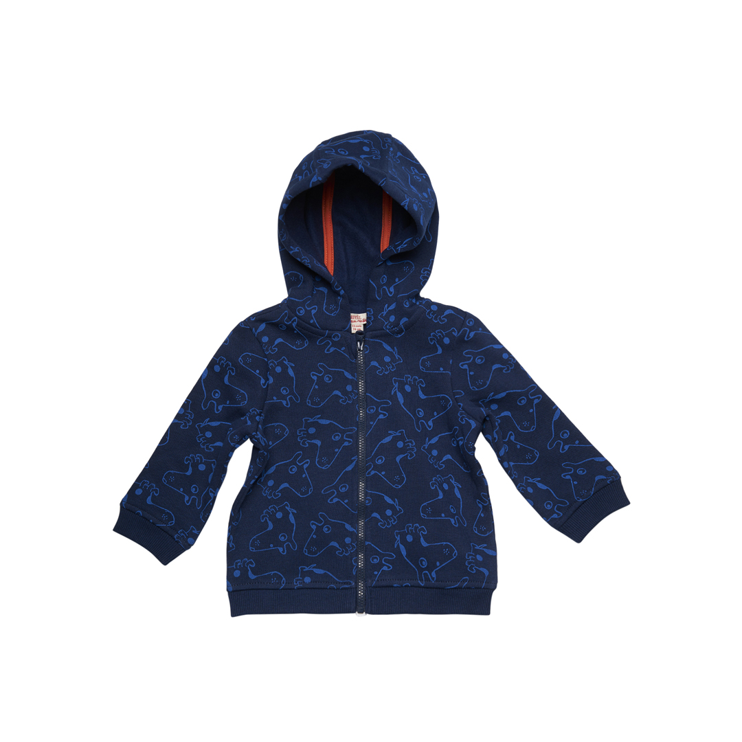 Gujogil3 Baby Boys Navy Fleece Hooded Cardigan