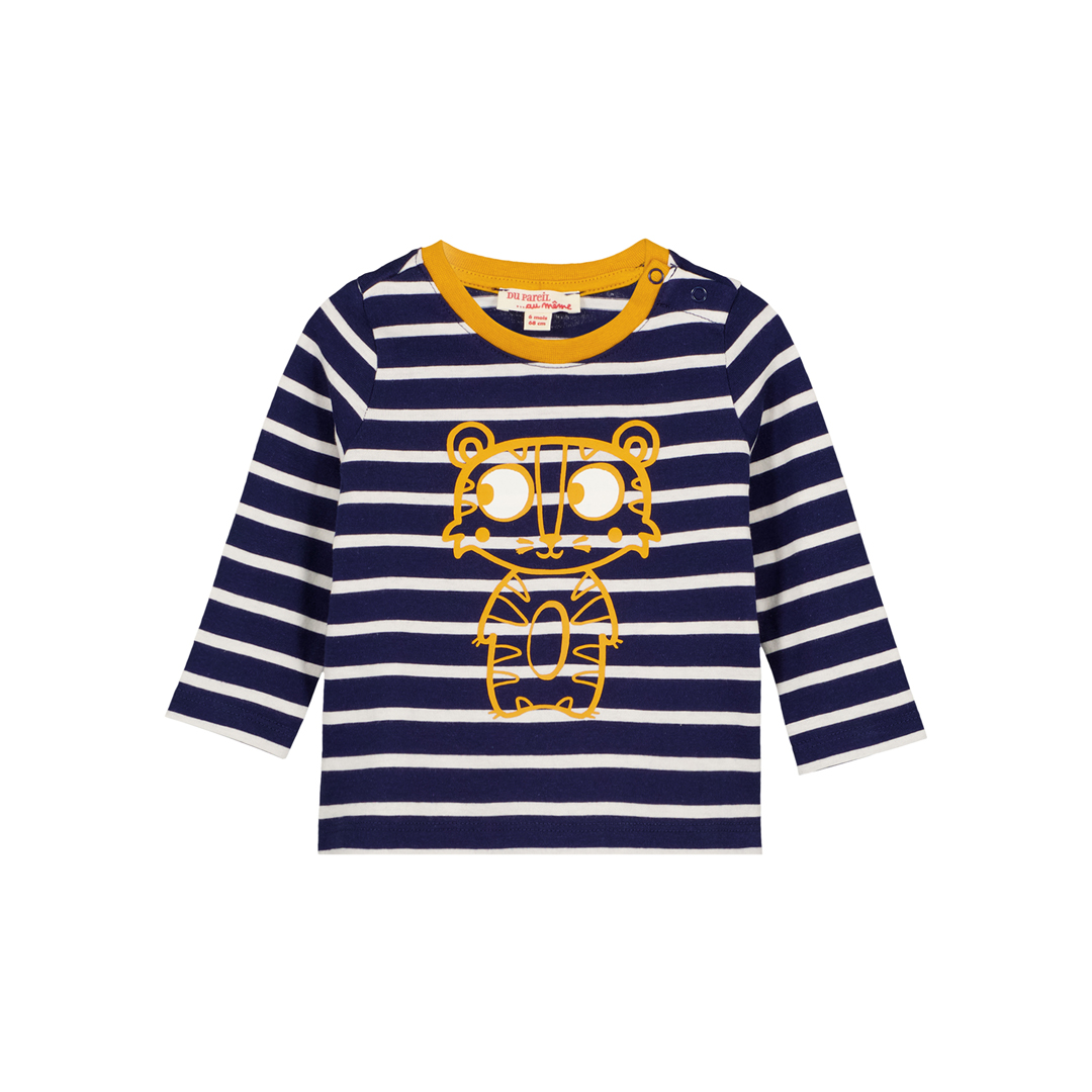 Gujotiray4 Baby Boys Navy Striped Cotton t-shirt