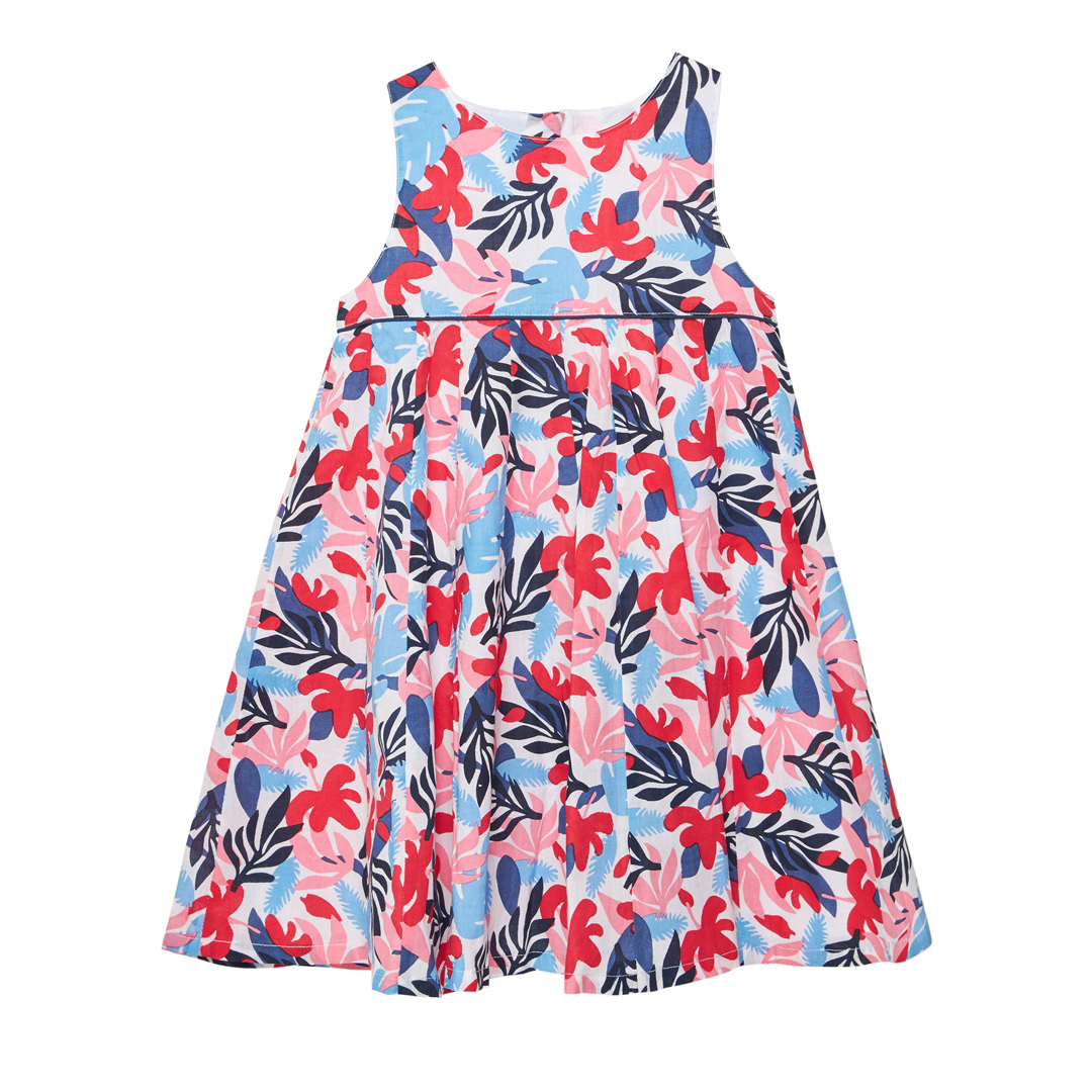Jacearob1 Girls Lined Printed Cotton Dress