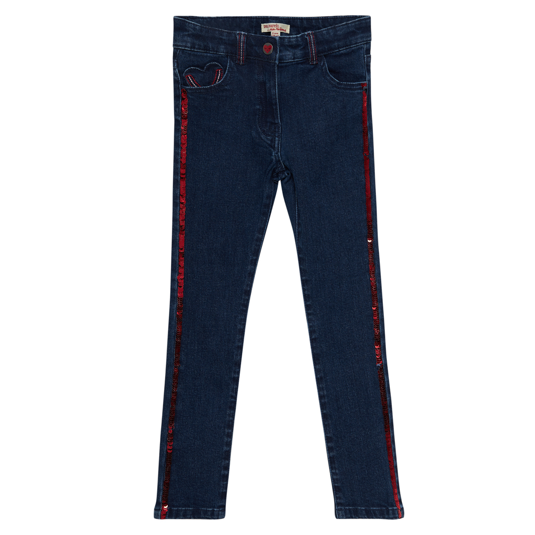Jagrajean Girls Sequinned Denim Jeans