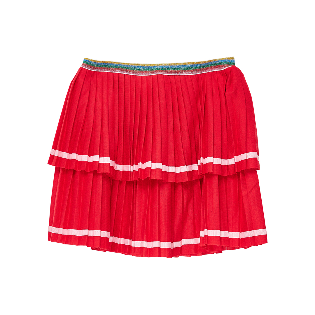 Jagrajup2 Girls Red Pleated Skirt