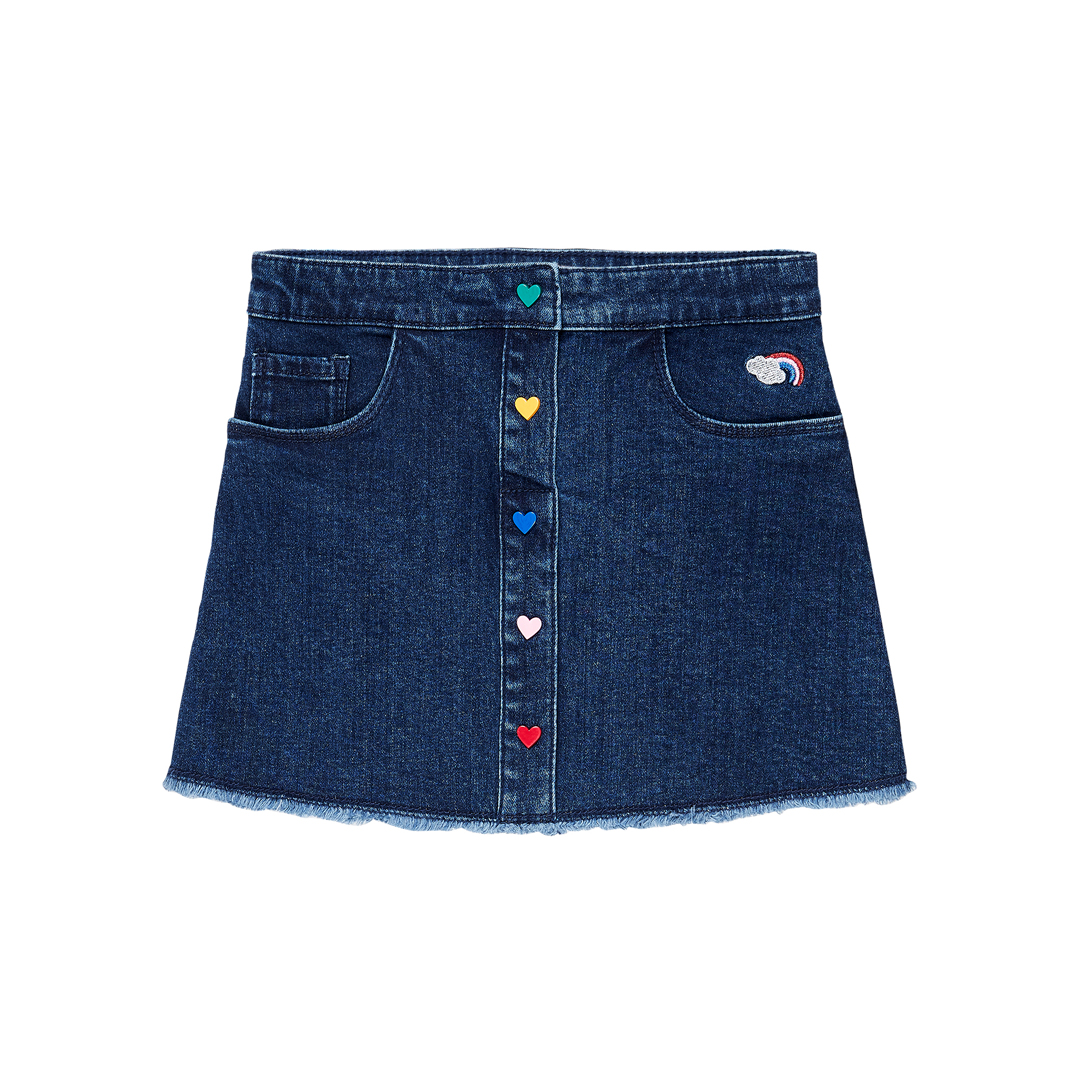 Jagrajup3 Girls Button Front Denim Skirt