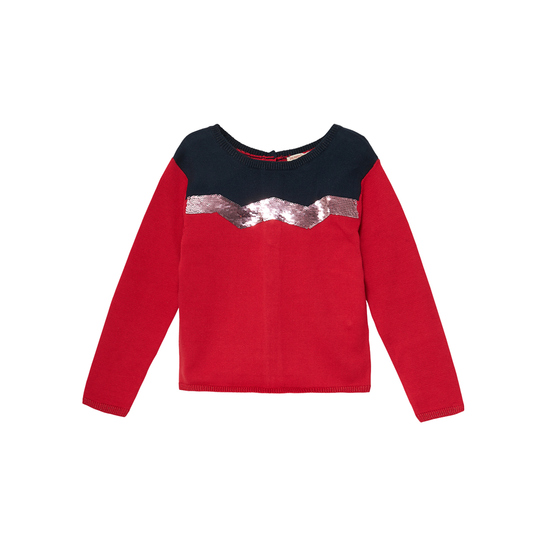 Jagrapull2 Girls Red Sequinned Cotton Mix Jumper