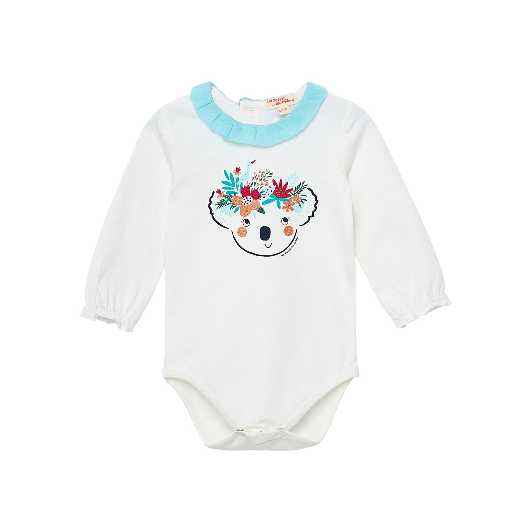 Jiclobody Baby Girls Cream Printed Bodysuit