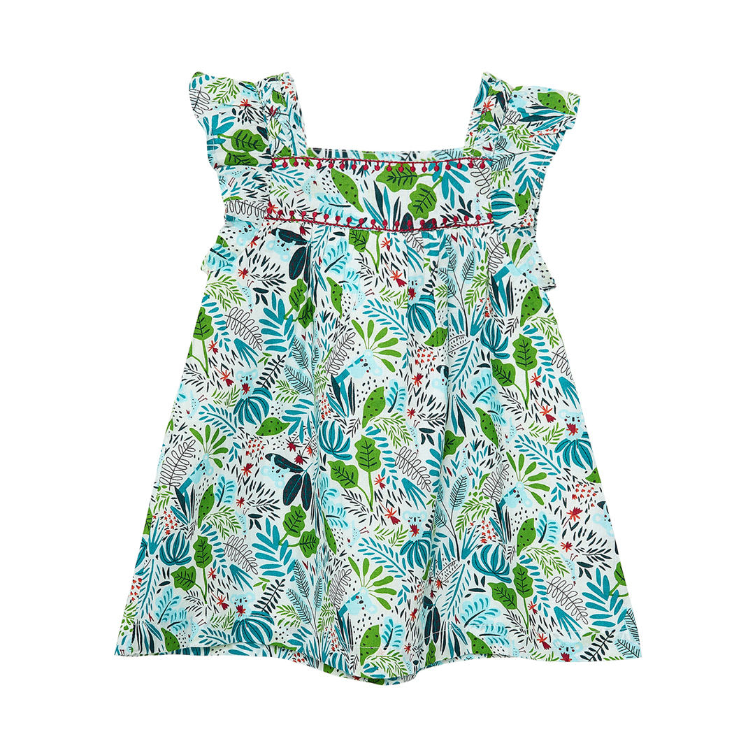 Jiclorob1 Baby Girls Printed Lined Cotton Dress