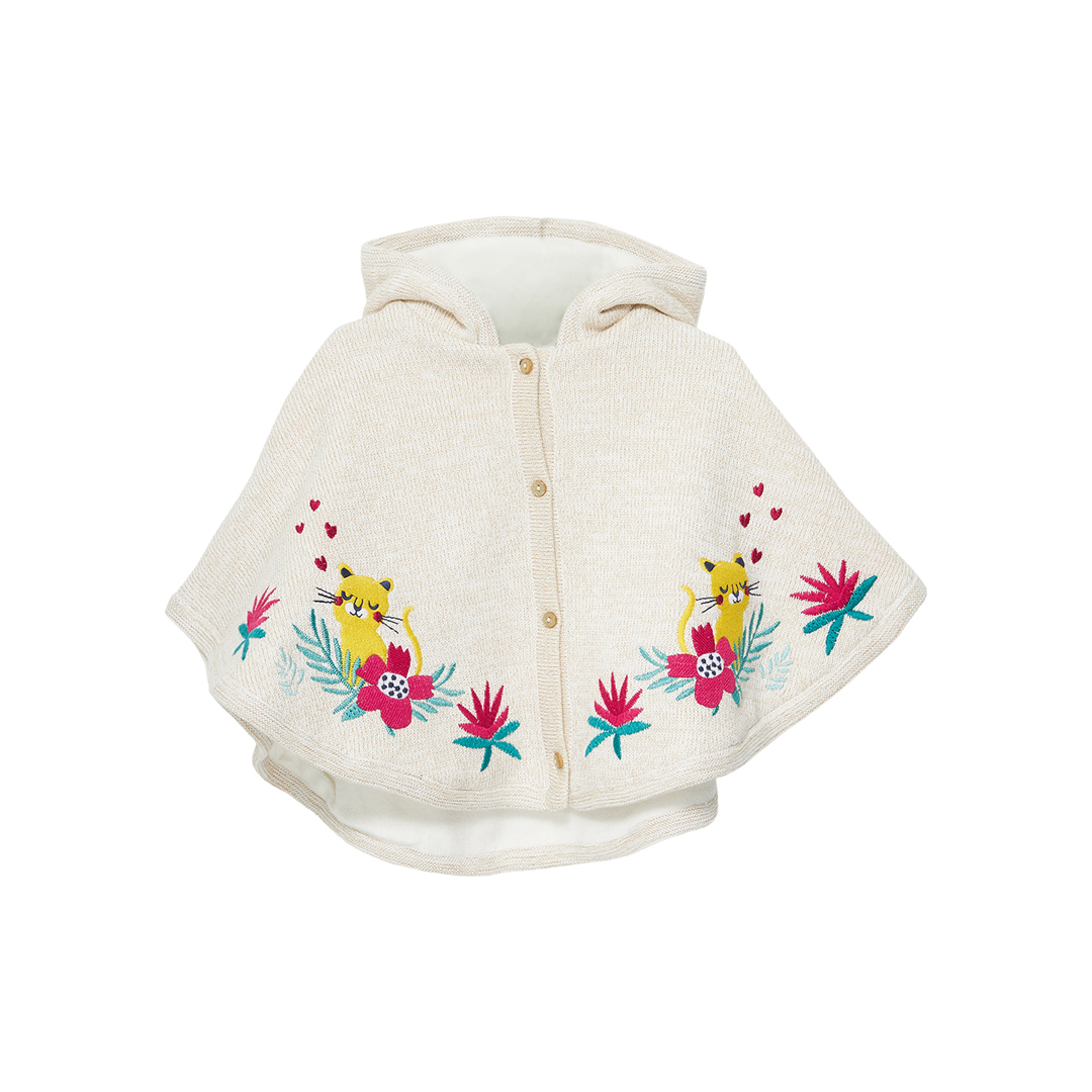 Jivicape Baby Girls Cream Knitted Cape